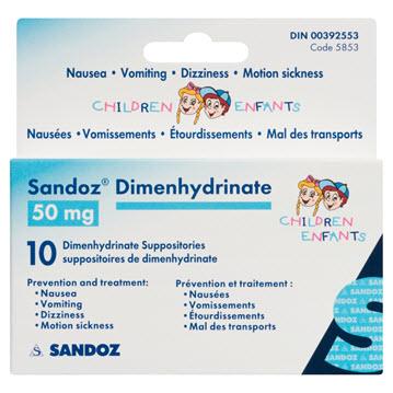 SDZ-DIMENHYDRINATE REC CH 50MG